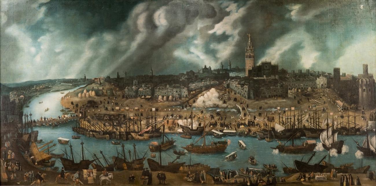'Vista de la ciudad de Sevilla', de Sánchez Coello, en M. del Prado.