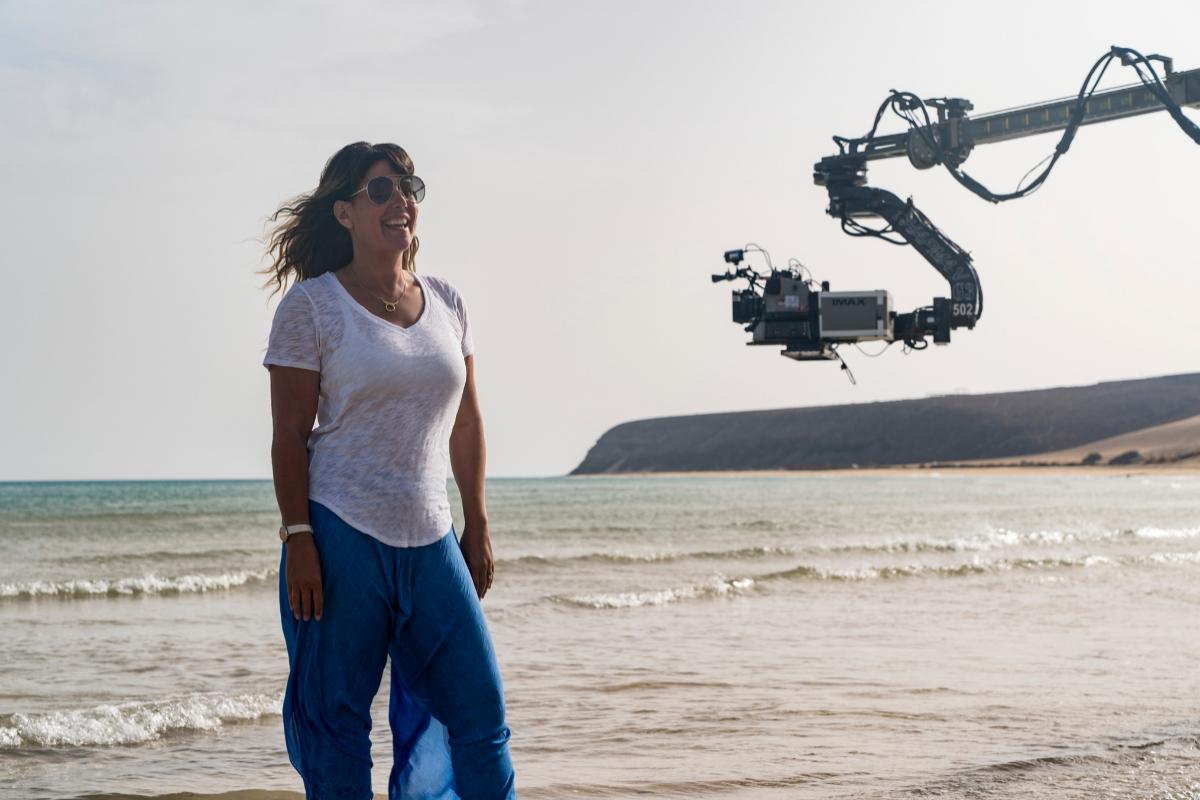 Patty Jenkins, en el rodaje de una escena de 'Wonder Woman 1984' en Canarias.