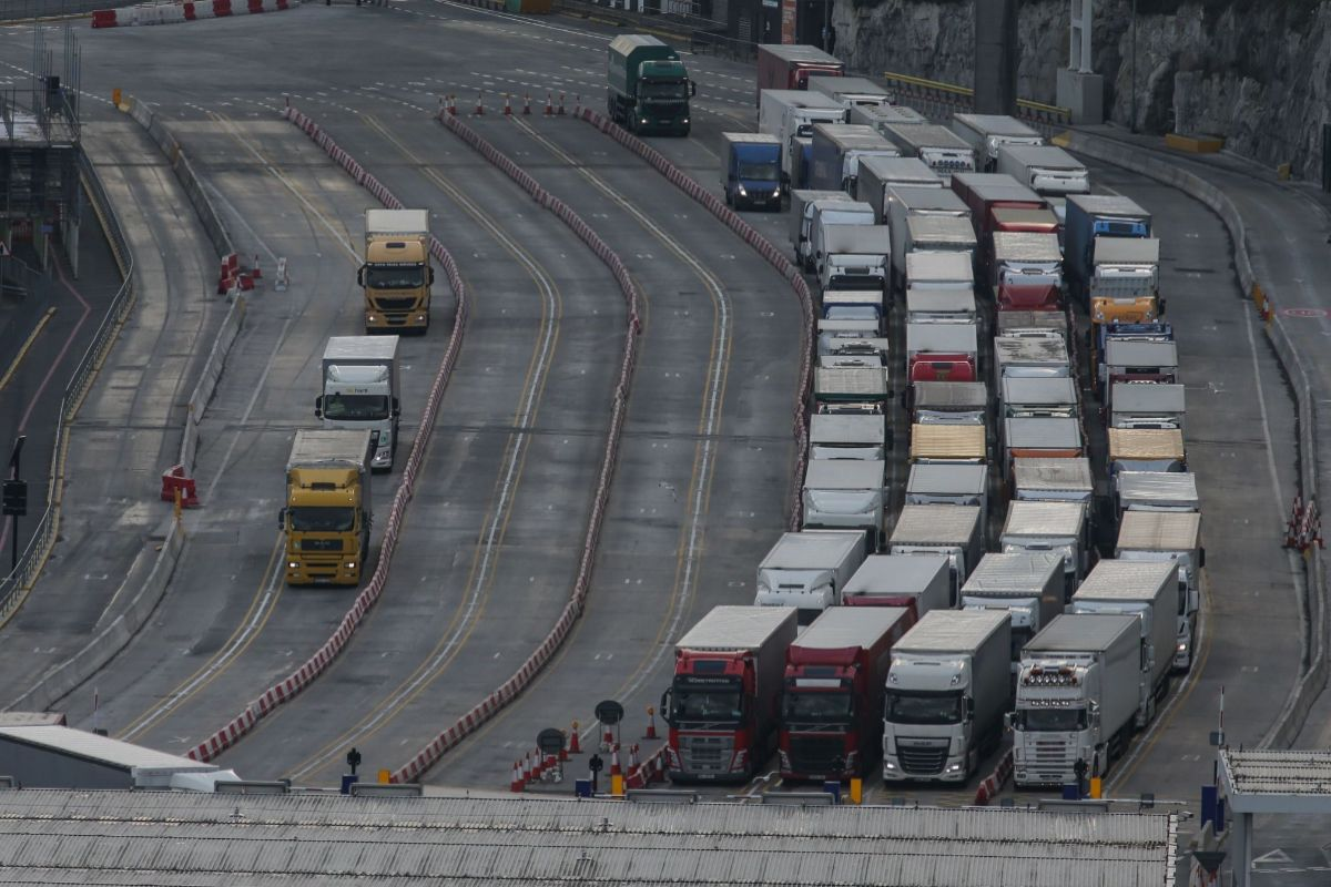 Camiones en la entrada del puerto de Dover, en 2018.