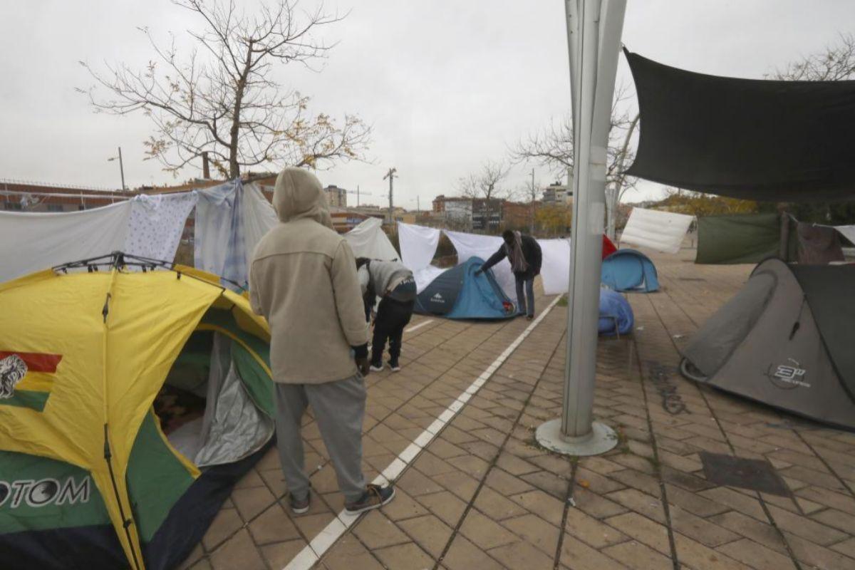 Algunos de los acampados. A. MORENO