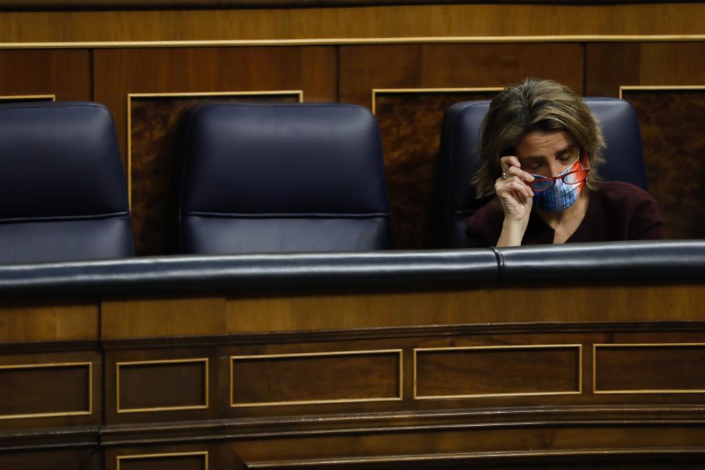 La vicepresidenta de Transición Ecológica, Teresa Ribera, en el Congreso.