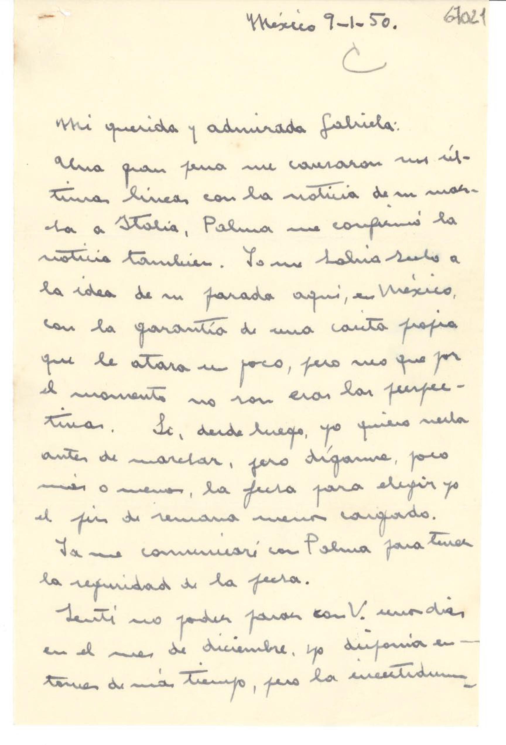 Carta de Victoria Kent a Gabriela Mistral, de 1950.