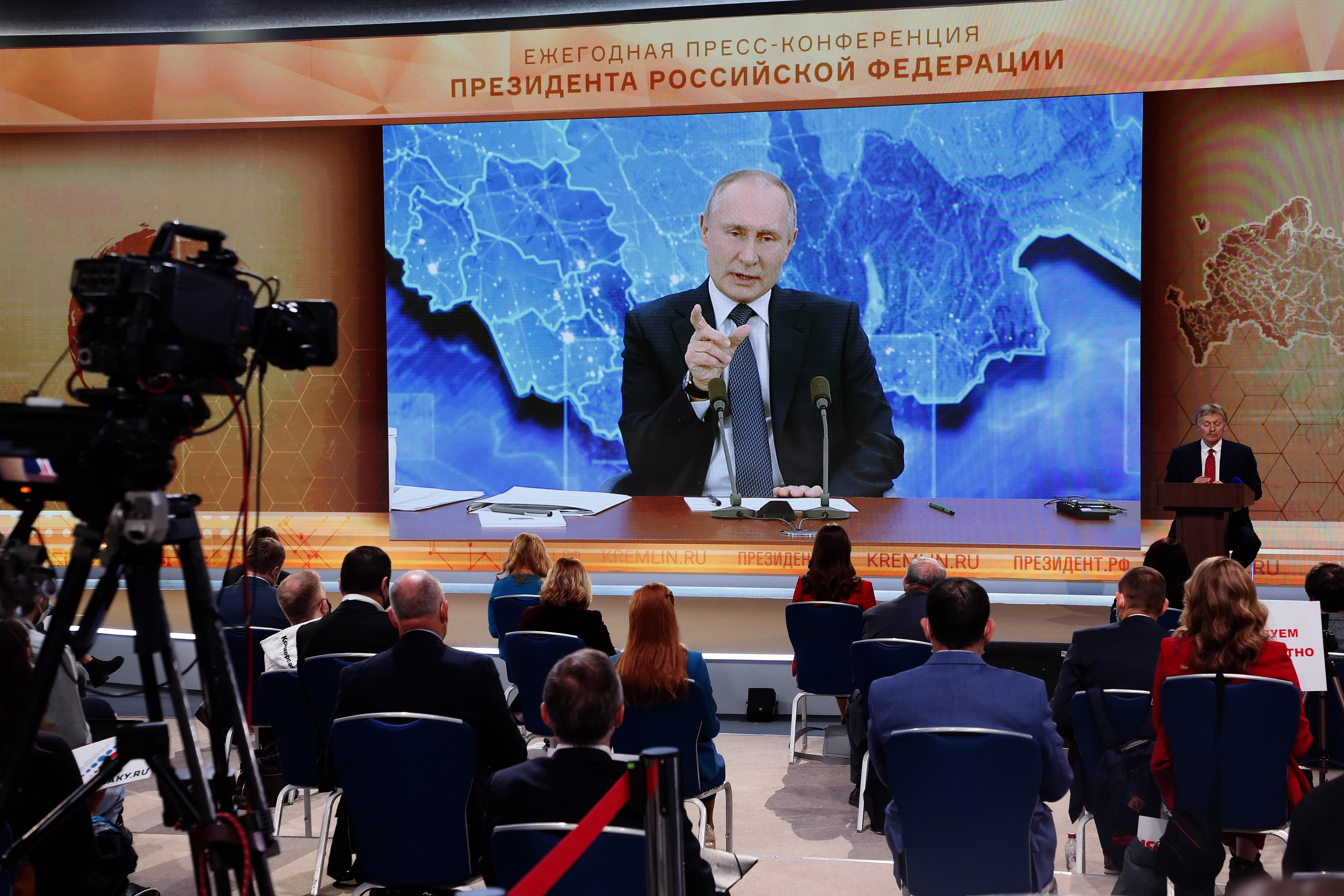 El presidente ruso, Vladimir Putin, en su conferencia anual.