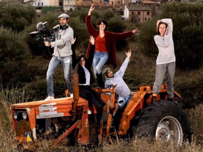 Camón y Kint, con otros miembros de 'Pueblos en Arte'.