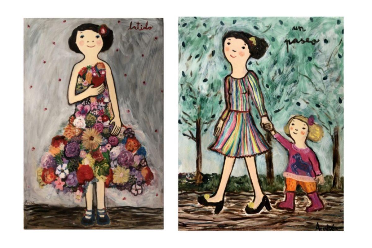 Los cuadros  'Latido' (a la izda.) y 'Un paseo', ambos óleos sobre tela.