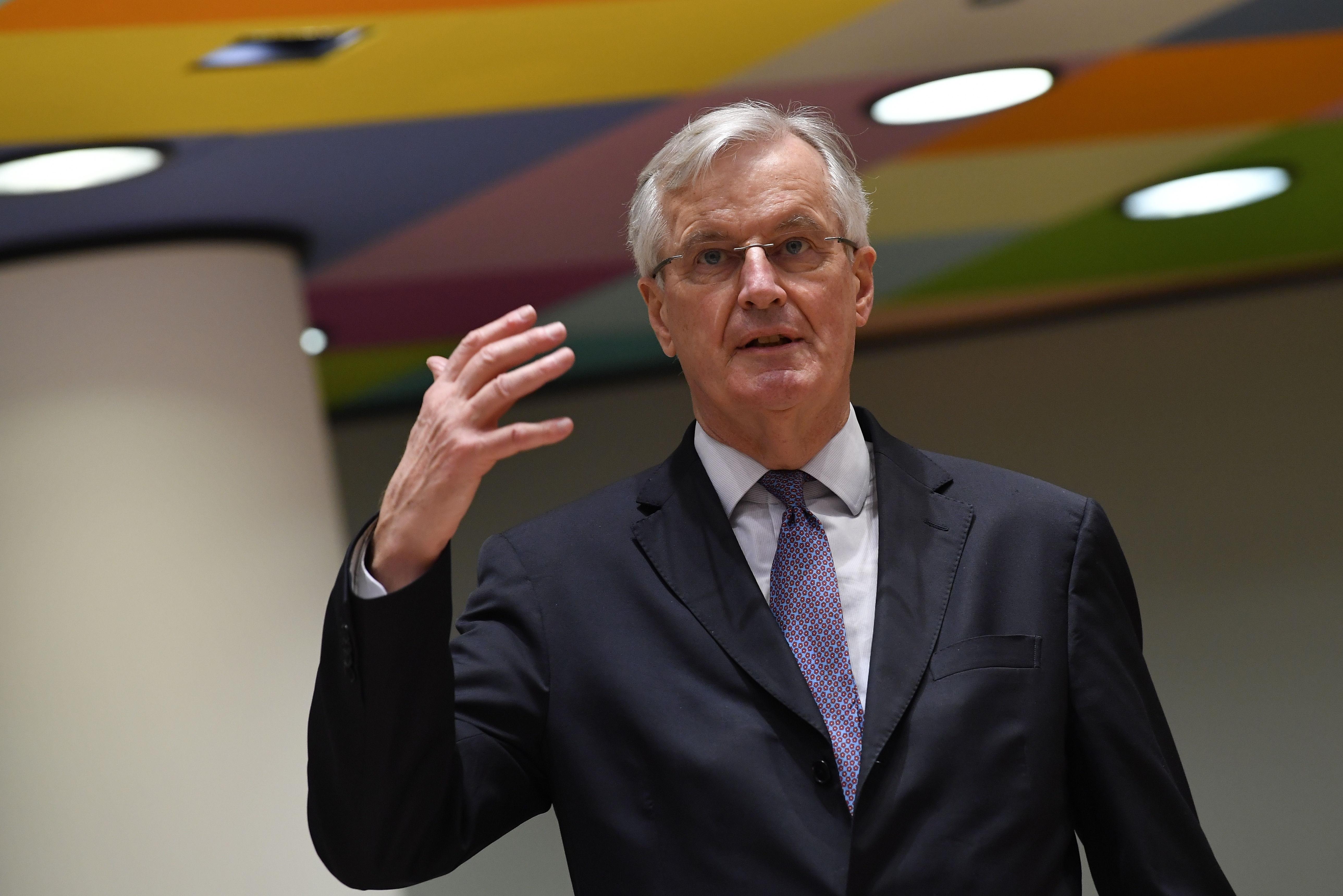 Michel Barnier, en el encuentro de hoy en Bruselas.