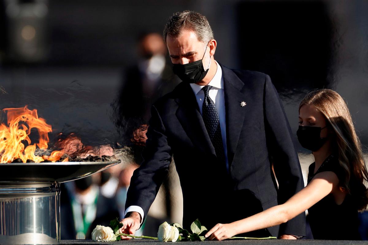 El Rey y la Princesa de Asturias, en julio, en el homenaje a las víctimas del coronavirus.