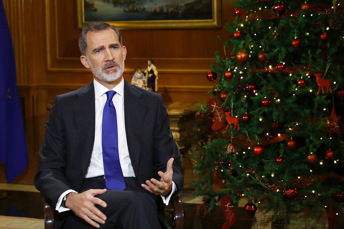 Felipe VI, en un momento de su discurso en Nochebuena. EFE
