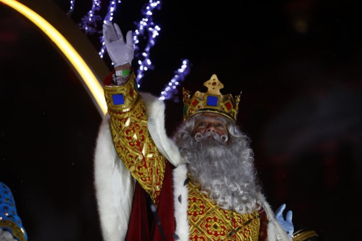 El Rey Melchor, durante la cabalgata de Madrid en 2020