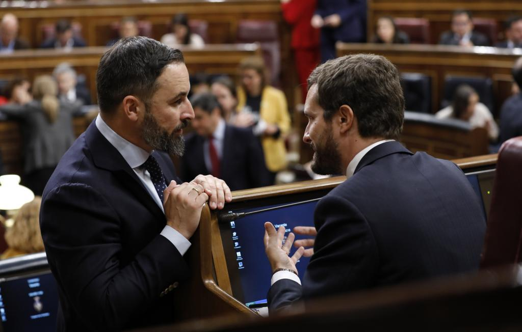 Santiago Abascal y Pablo Iglesias, en un pleno del Congreso en 2019.