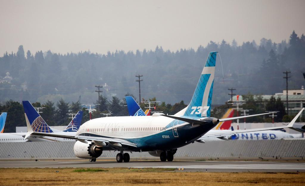 A 737 Max for Boeing in the Seattle airport, Washington.