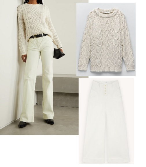 Pantalones (460 ¤), de Nili Lotan en Net-a-porter; jersey de ochos (29,95 ¤), de Zara, y jeans anchos (185 ¤), de Sandro.