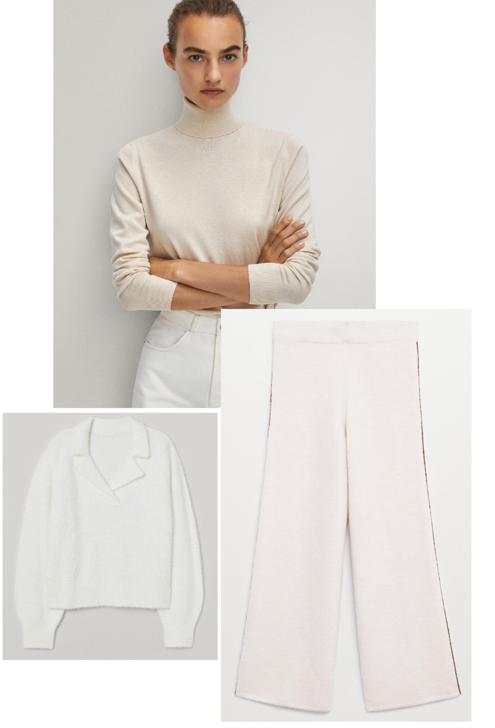 Jersey de cuello alto (antes 39,95 ¤; ahora 29,95 ¤), de Massimo Dutti; con cuello camisero (antes 29,99 ¤; ahora 15,99 ¤), de H&M, y pantalón (29,99 ¤), de Mango.