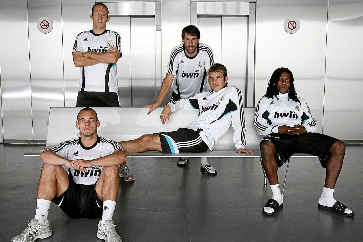 Sneijder, Robben, Van Nistelrooy, Van der Vaart y Drenthe, los cinco holandeses del Real Madrid en 2008.