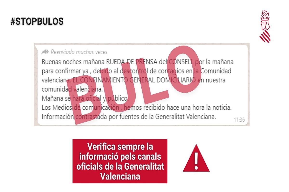 El mensaje de alerta difundido por la Generalitat.