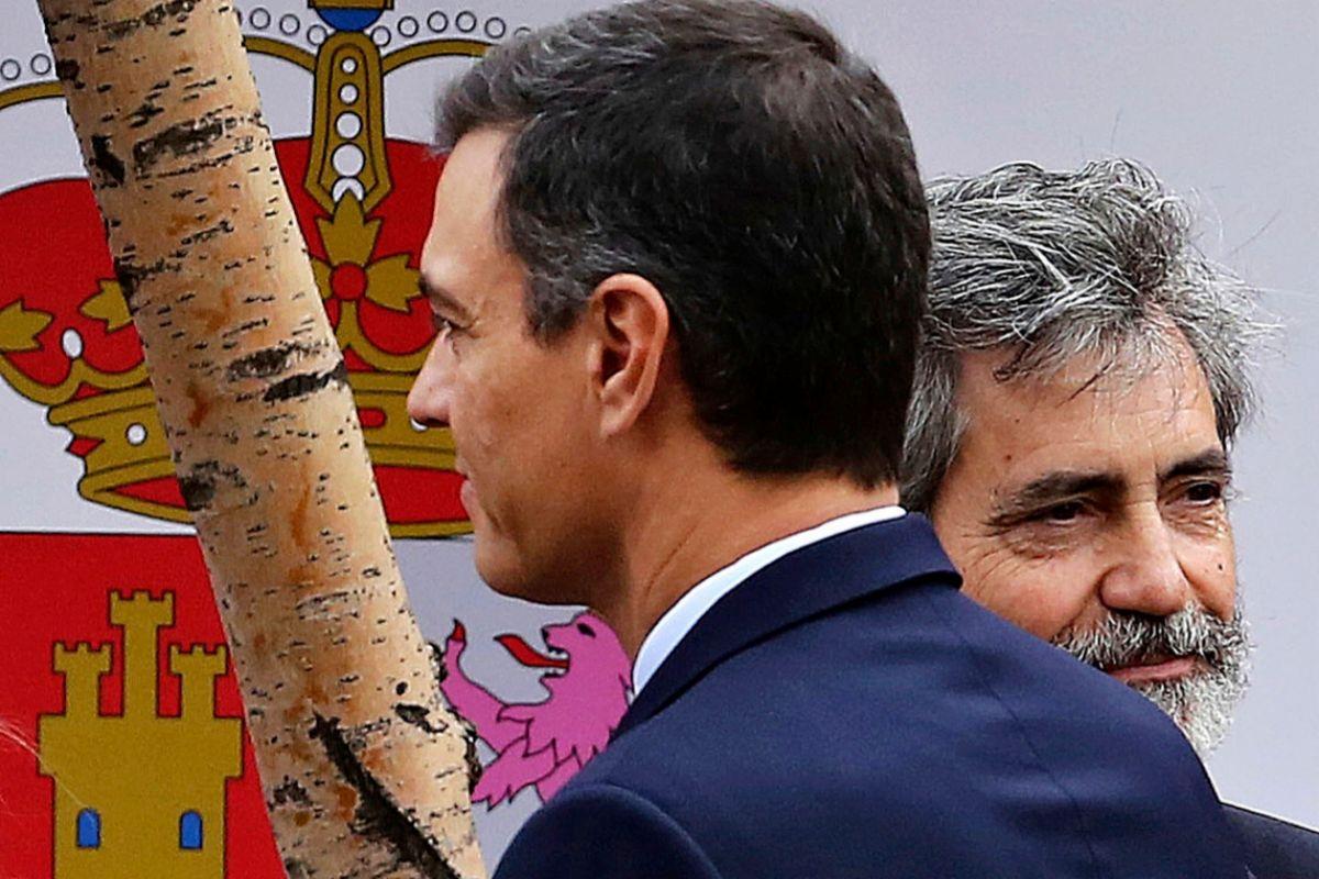 Pedro Sánchez  y el presidente de CGPJ, Carlos Lesmes.
