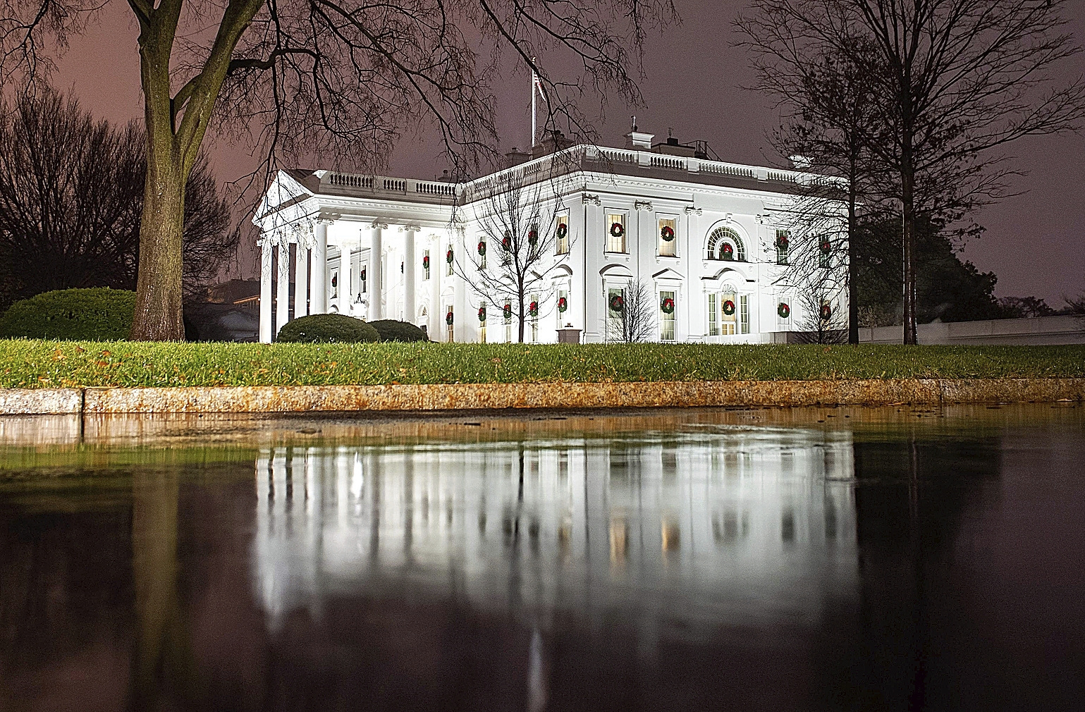 View of the White House at night in Washington.