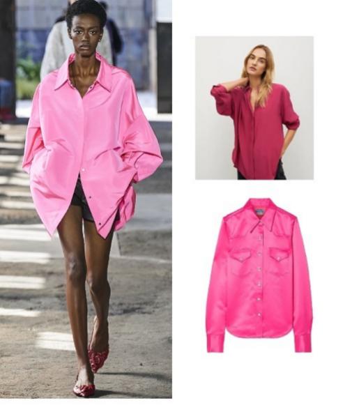 Desfile de primavera 2021, de Valentino y camisa color frambuesa (antes 39,90 ¤; ahora 29,90 ¤), de Mango.