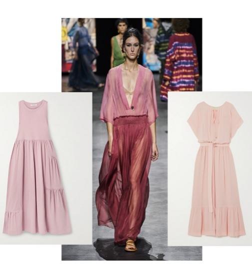 Vestido de gasa (antes 235 ¤; ahora 141 ¤), de Michael Michael Kors; desfile de primavera-verano 2021, de Dior, y  sin mangas (antes 105 ¤; ahora 73,50 ¤), de Ninety Percent en Net-a-porter.