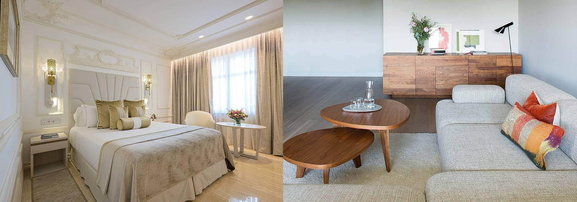 Dos estilos, dos hoteles: Gran Hotel Miramar (izqda.) y Alma Pamplona (dcha.).