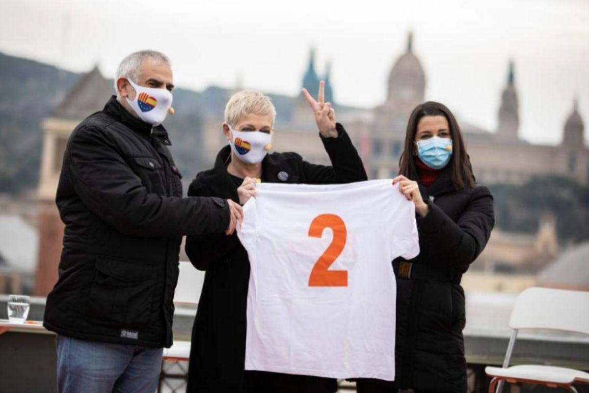 Carlos Carrizosa, Anna Grau e Inés Arrimadas, la pasada semana en Barcelona.