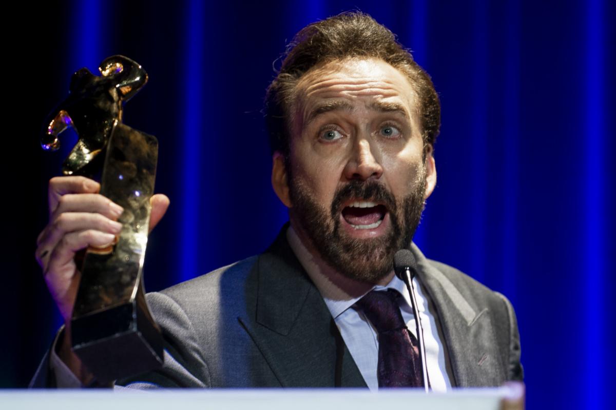 Nicolas Cage recoge un premio en 2018