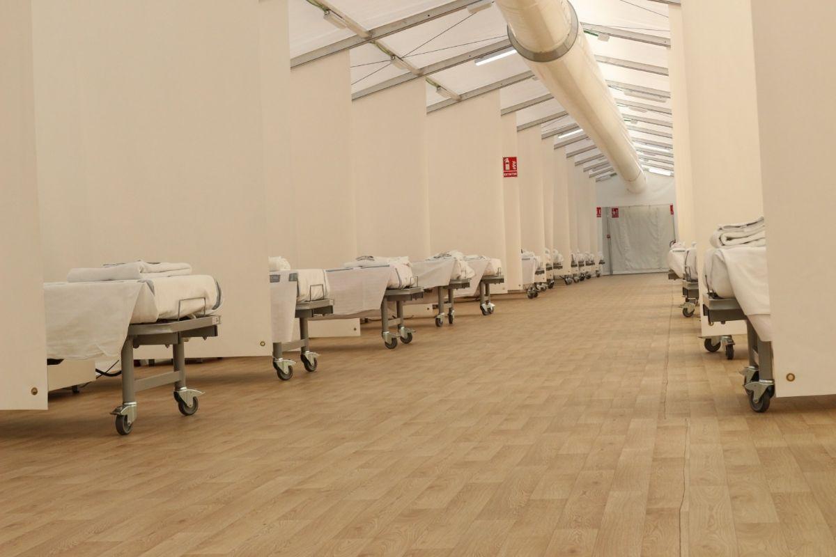 Camas del hospital de campaña de La Fe de Valencia.