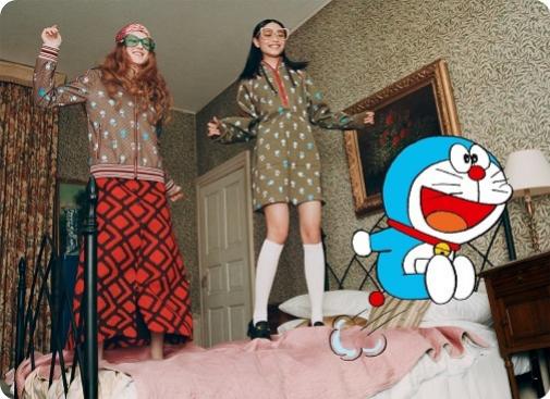 Imagen de la nueva colección de Gucci con Doraemon de protagonista.