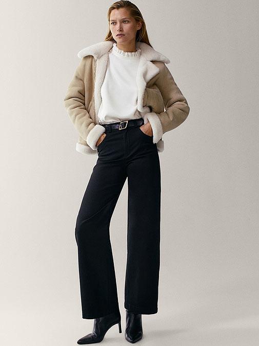 Pantalón ancho de algodón.
