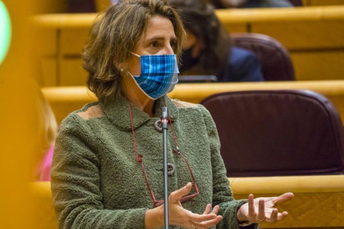 Teresa Ribera, durante una sesión de control al Gobierno en el Senado.