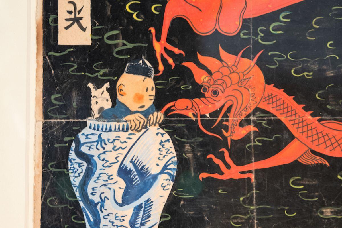 Detalle de la portada de Tintín subastada.