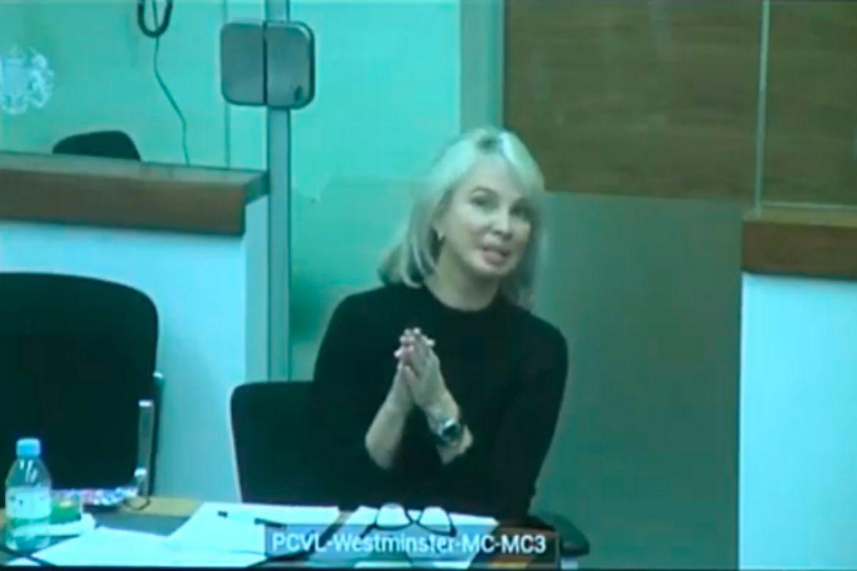 La empresaria alemana Corinna Larsen, este viernes, durante su declaración por videoconferencia en el juicio a Villarejo, desde Londres.
