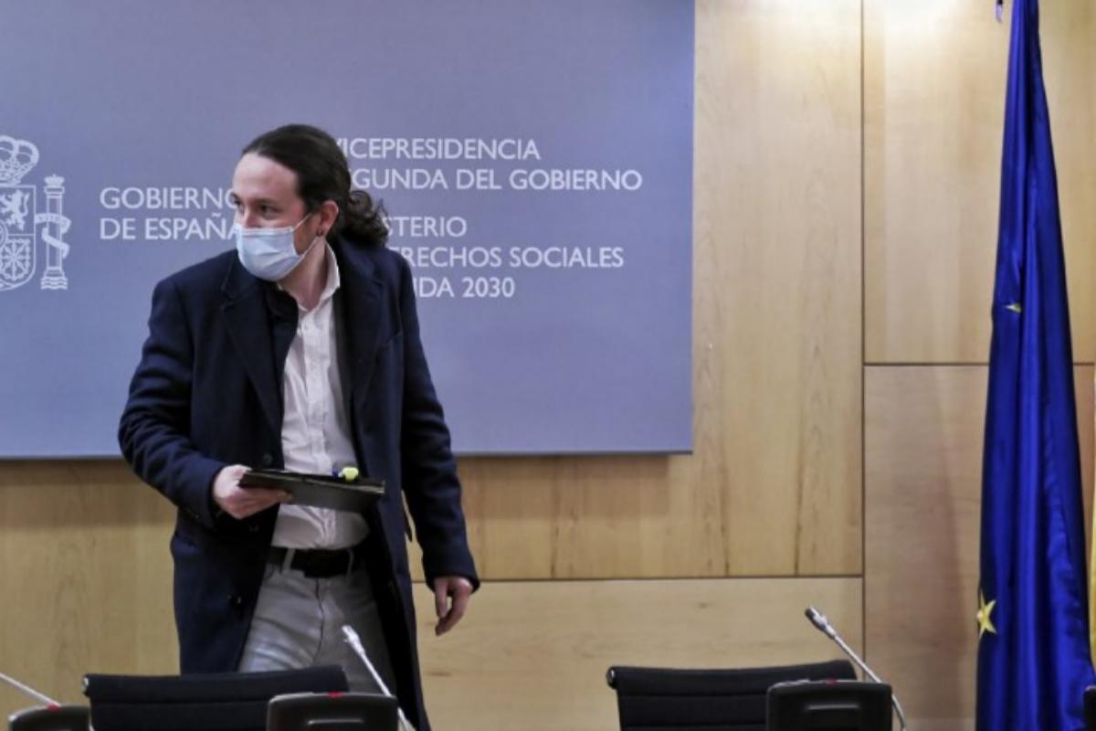El vicepresidente Pablo Iglesias, a su llegada al Consejo Territorial de Servicios Sociales.