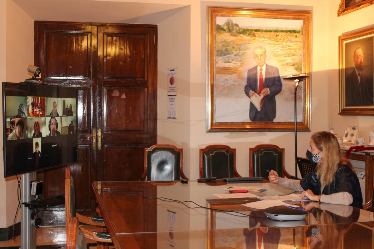 La alcaldesa, Amparo Marco, en la reunión extraordinaria que ha tenido lugar esta tarde online.