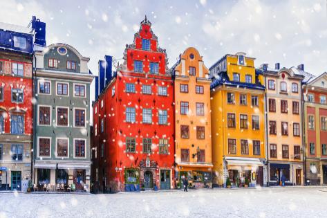 La capital de Noruega en un día de nieve.