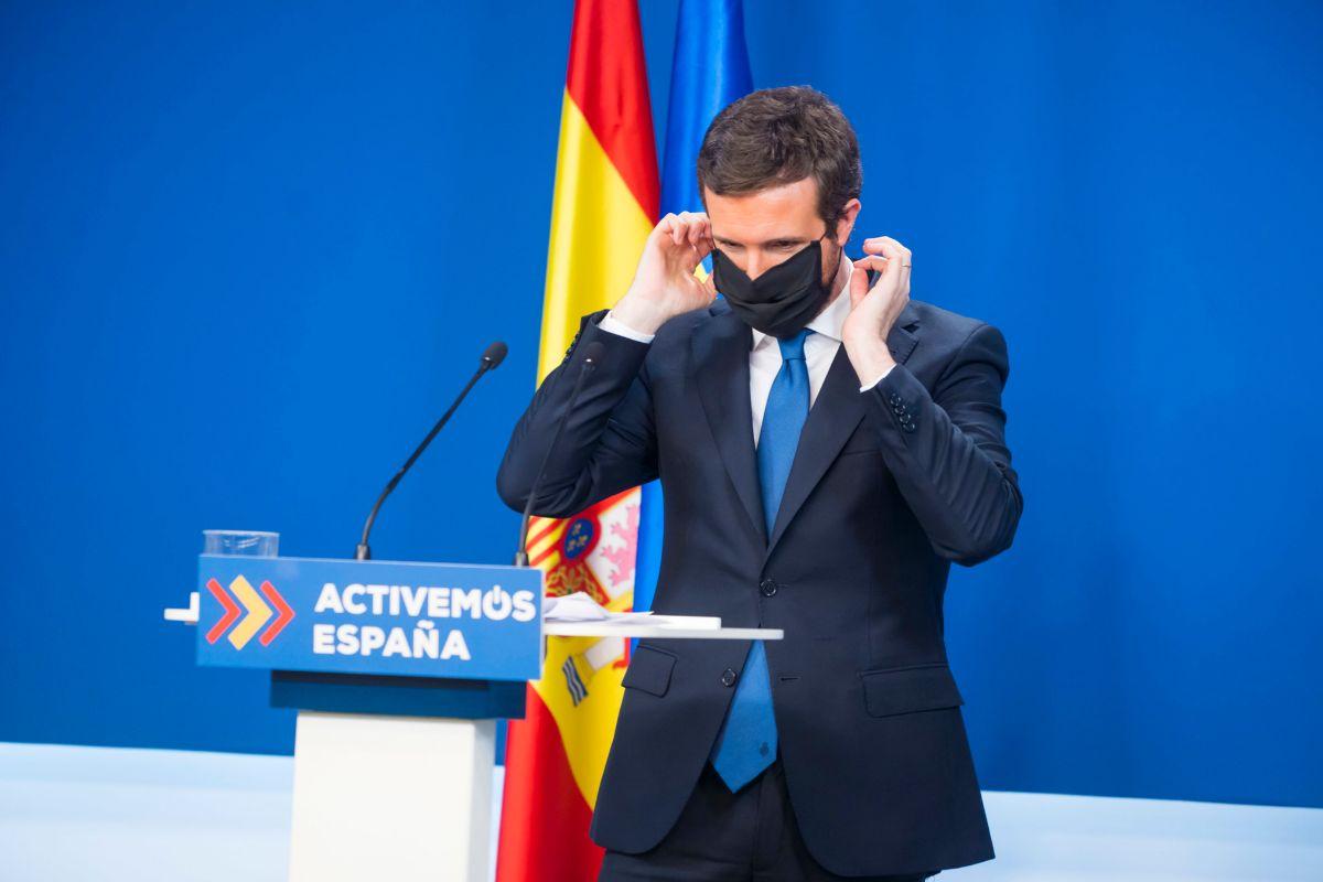 lt;HIT gt;Pablo lt;/HIT gt; lt;HIT gt;casado lt;/HIT gt;, presidente del Partido Popular (PP), ofrece una rueda de prensapara hacer balance del año 2020 en la sede de la Calle Genova, Madrid. El 29 de diciembre de 2020.