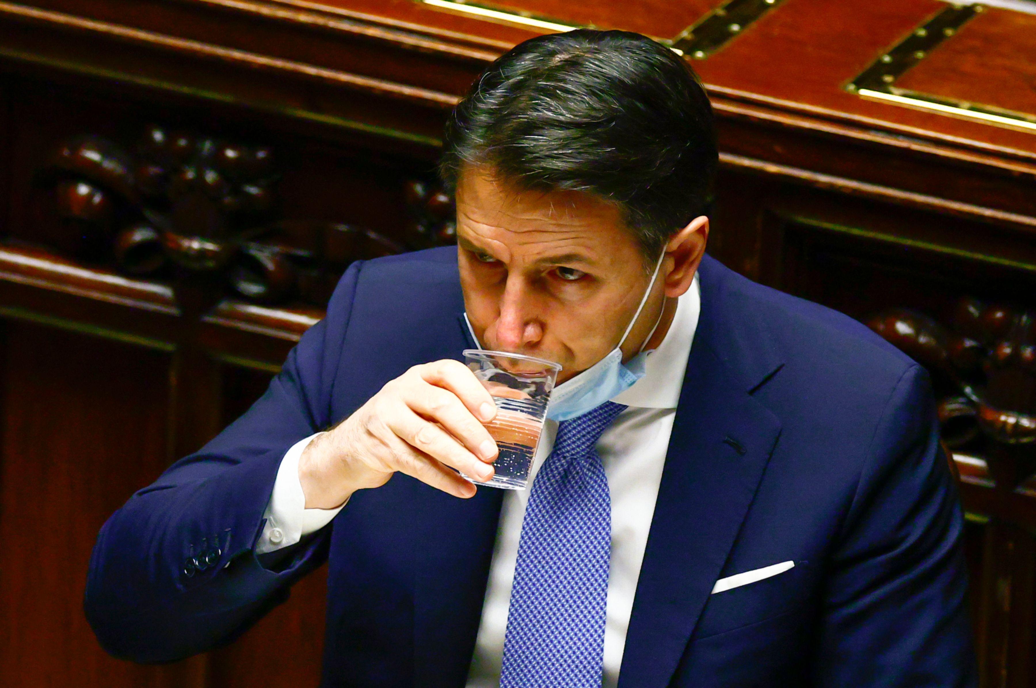 جوزپه کونته ، دیروز در پارلمان ایتالیا.