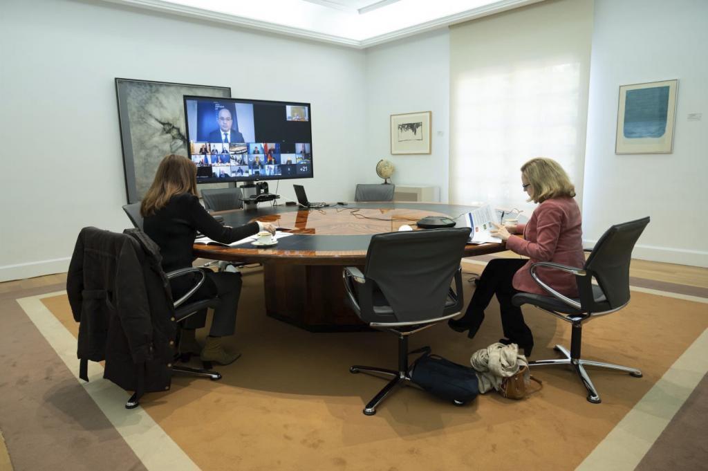 Nadia Calviño, en una imagen distribuida por Economía de sus reuniones del 18 y 19 de enero con los ministros europeos.