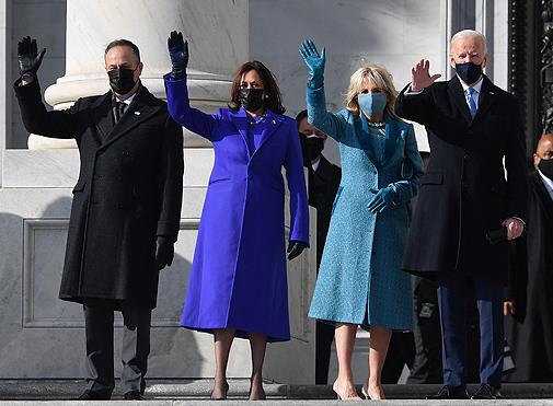 Kamala Harris y su marido junto a Joe y Jill Biden.