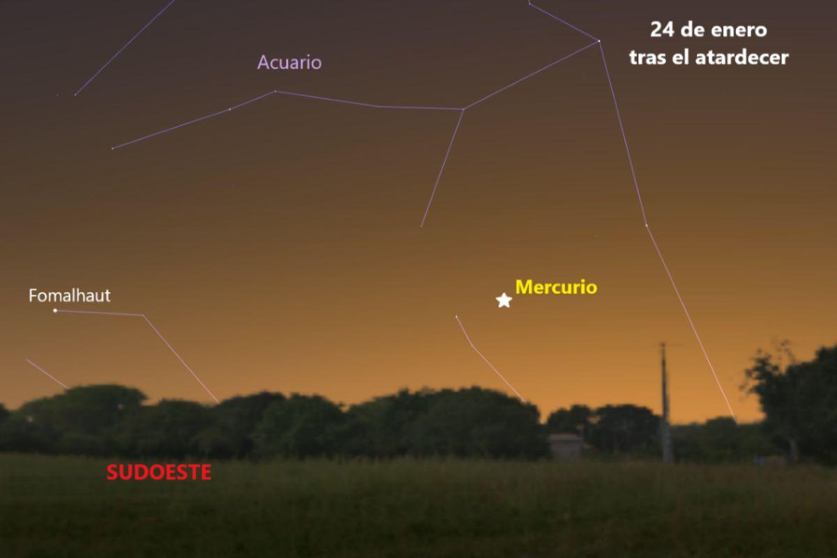 Mercurio tras el atardecer del 24 de enero