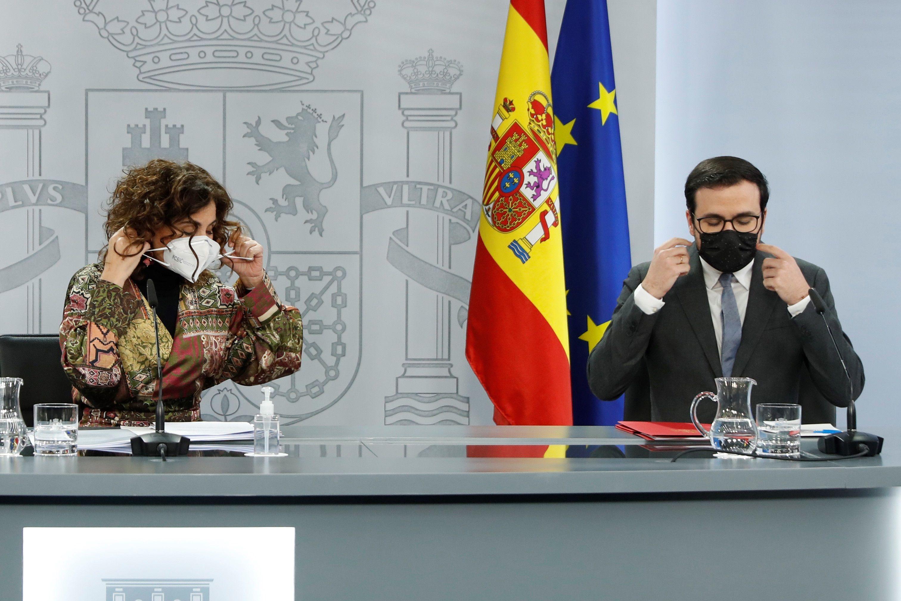 La portavoz del Gobierno y ministra de Hacienda, María Jesús Montero, en la última rueda de prensa de Moncloa.