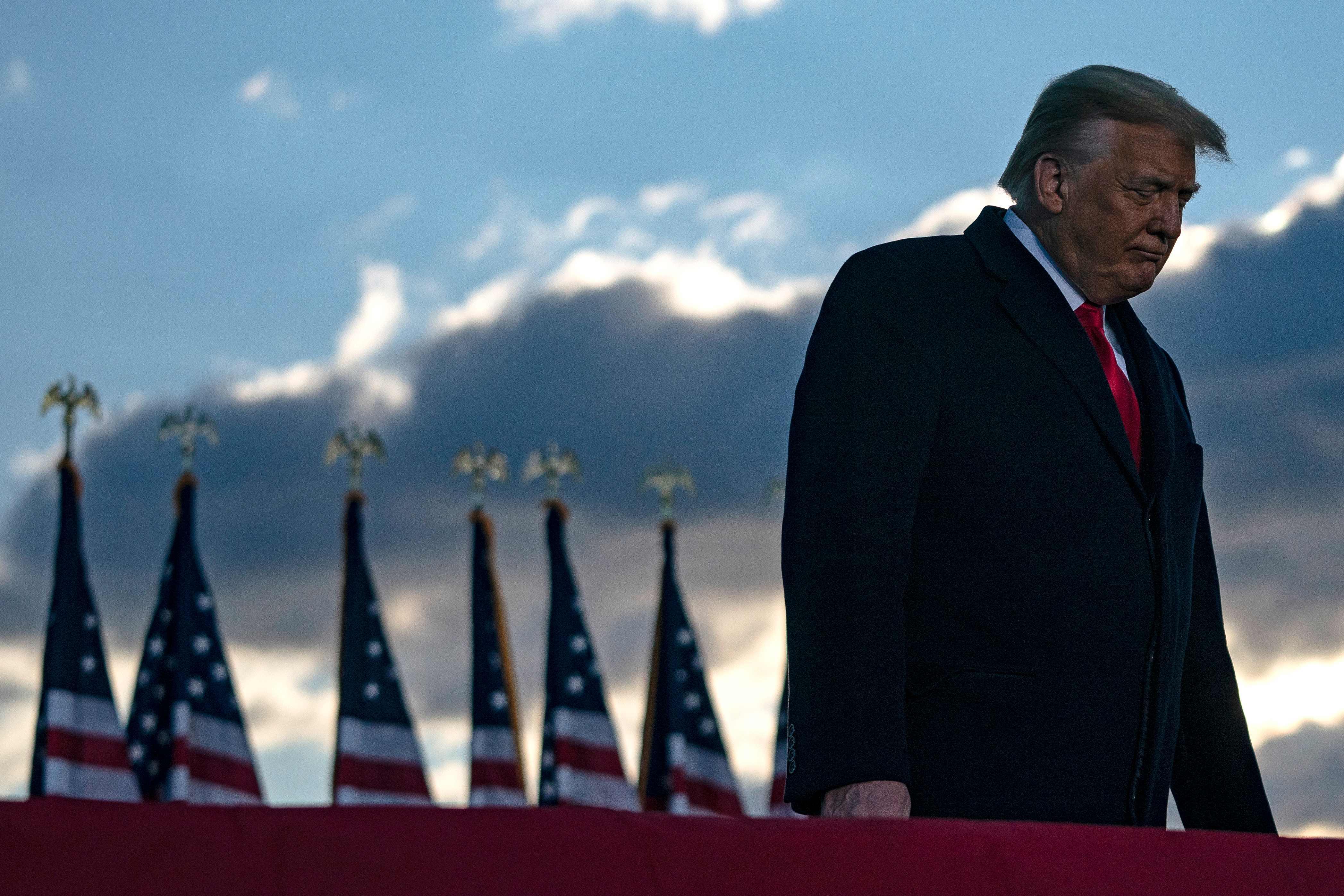 Donald Trump, tras su despedida en la base militar de Andrews.