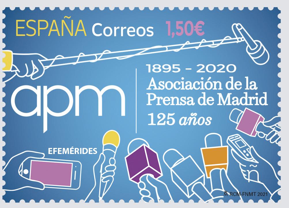El sello que conmemora el 125 aniversario de la Asociación de la Prensa de Madrid