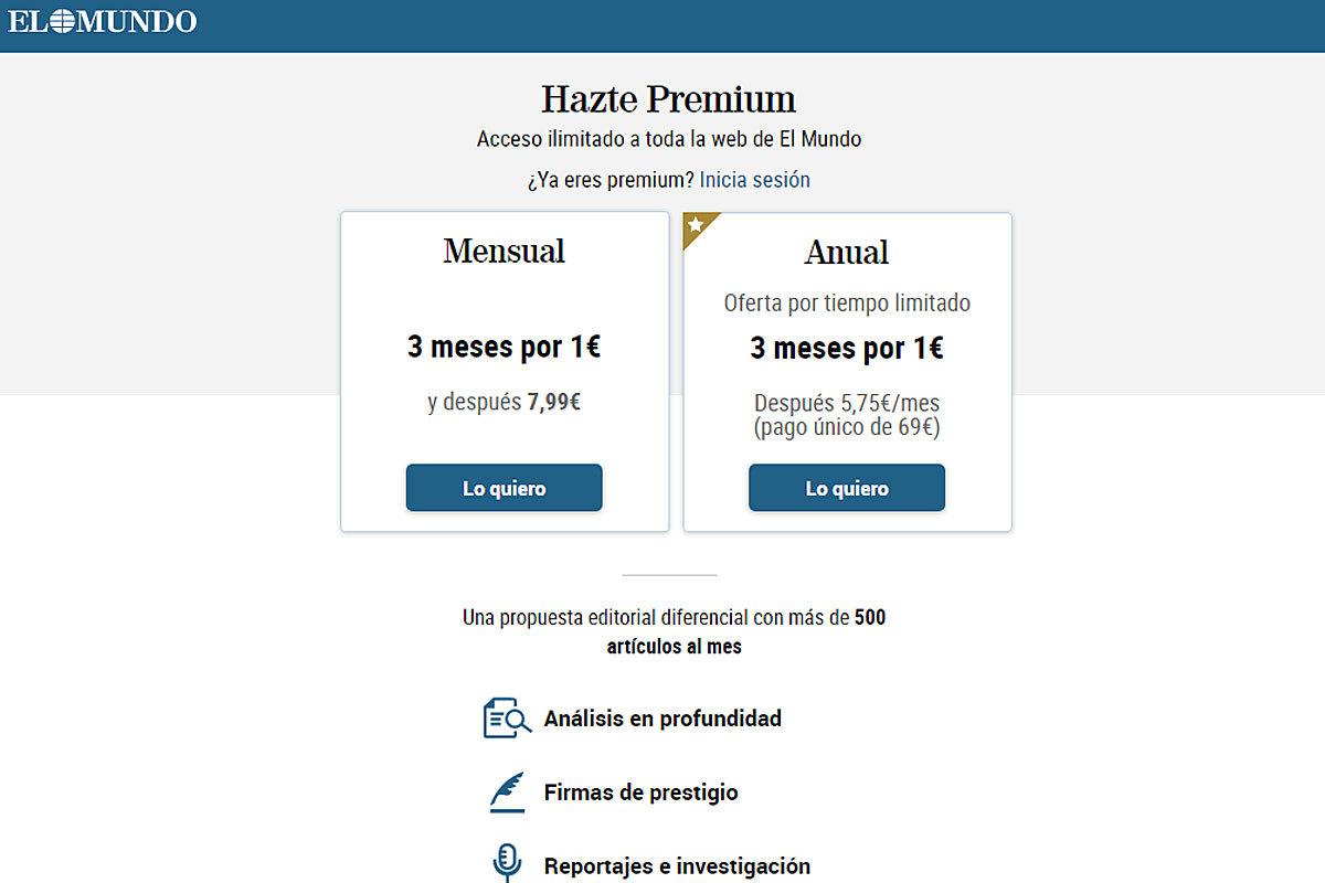 Promoción Premium: tres meses de acceso a todo el contenido exclusivo de EL MUNDO por sólo un 1 euro