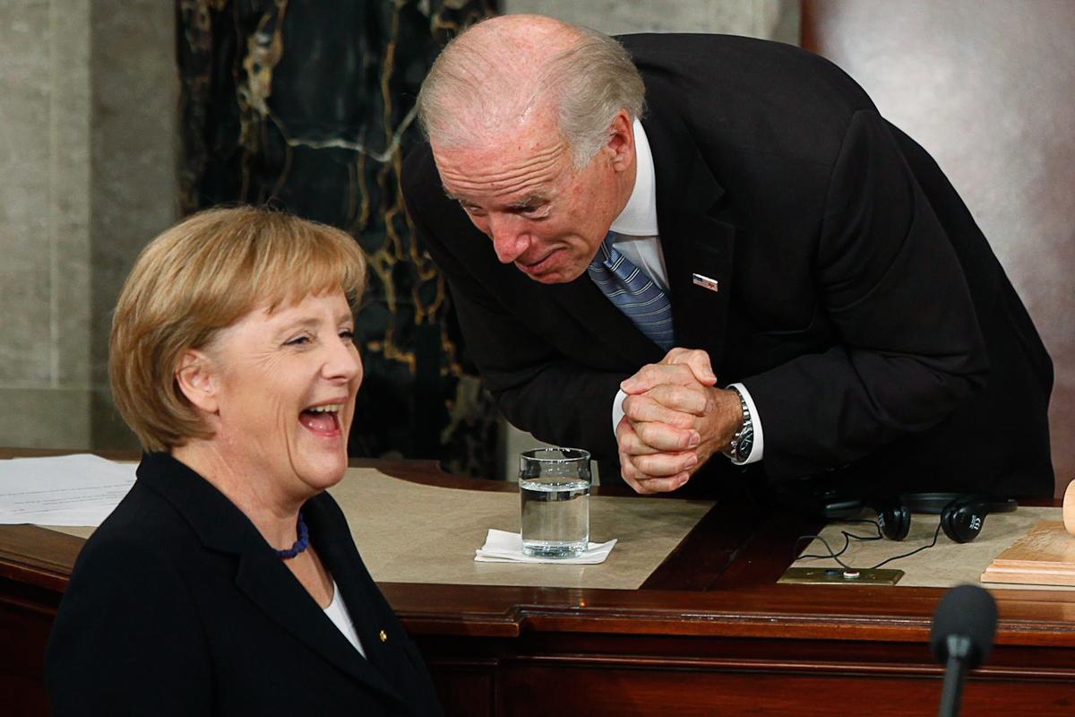 Angela Merkel y Joe Biden en el Congreso estadounidense, en 2009.