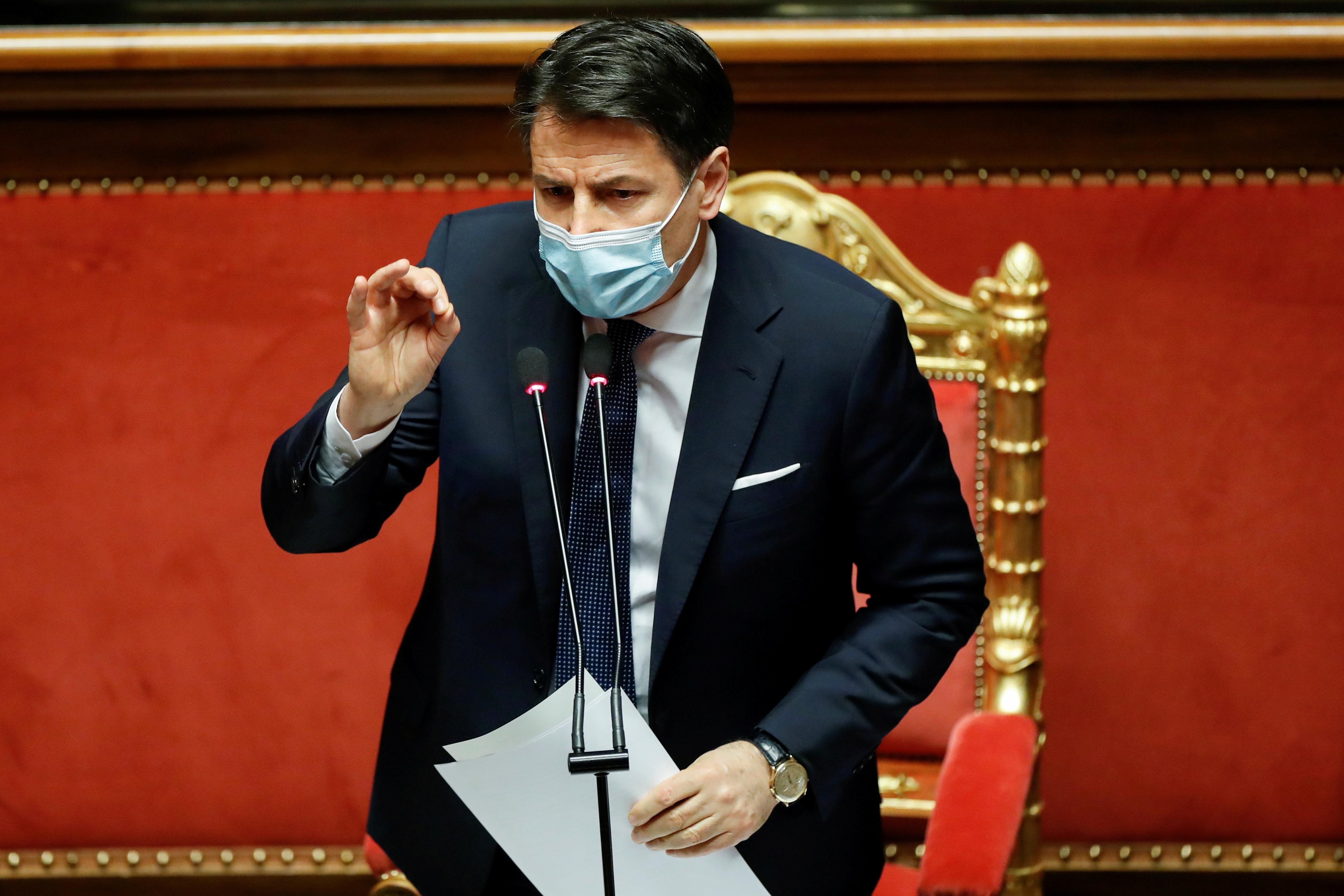 El 'premier' Giuseppe Conte en el Parlamento.