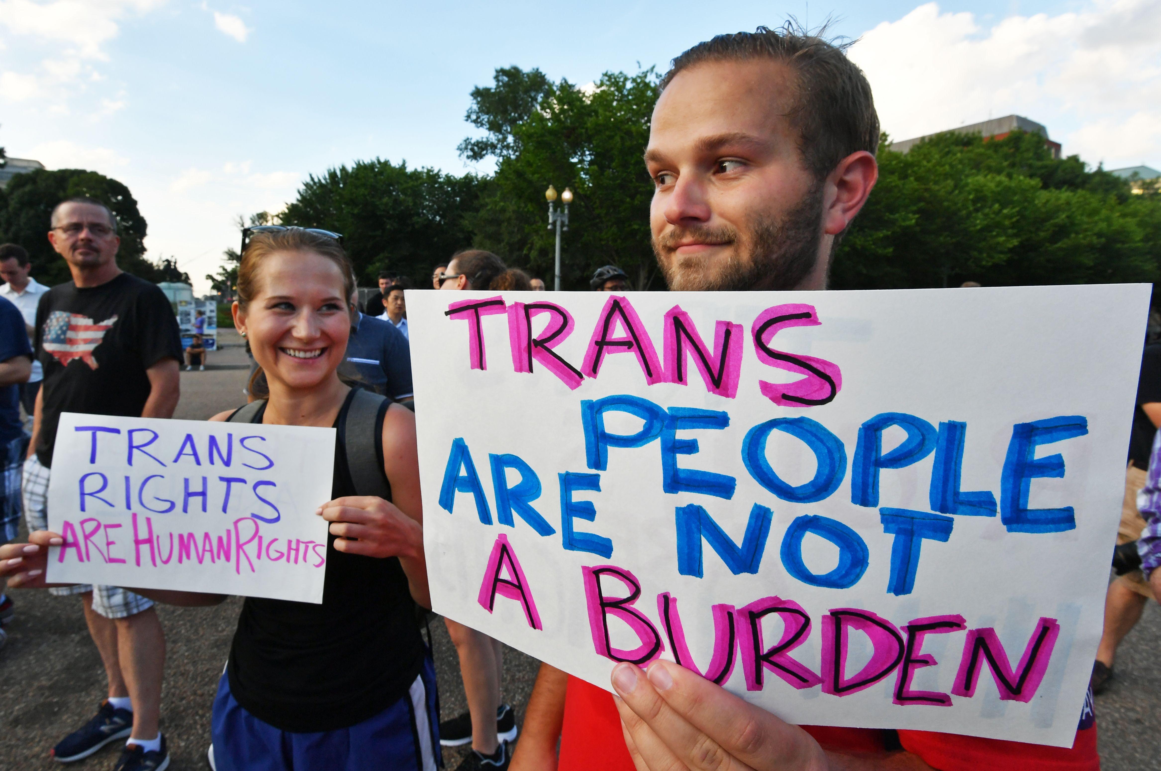 Manifestación a favor de las personas trans, en Washington.
