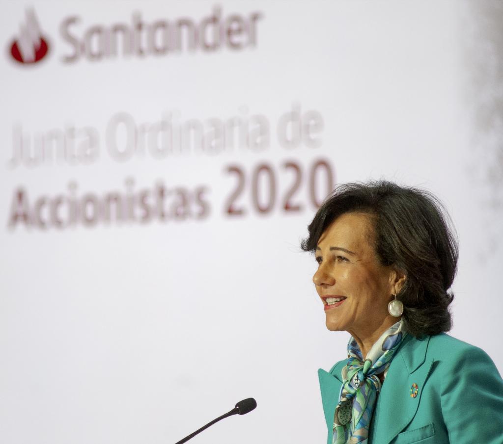 Ana Botín, durante su intervención en la presentación de resultados de la entidad a los accionistas