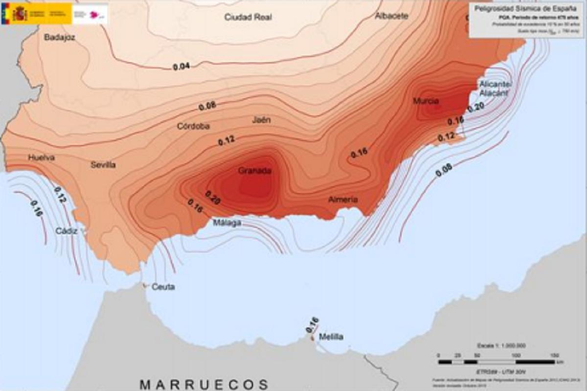 Mapa de peligrosidad sísmica de España, de la región sur peninsular.