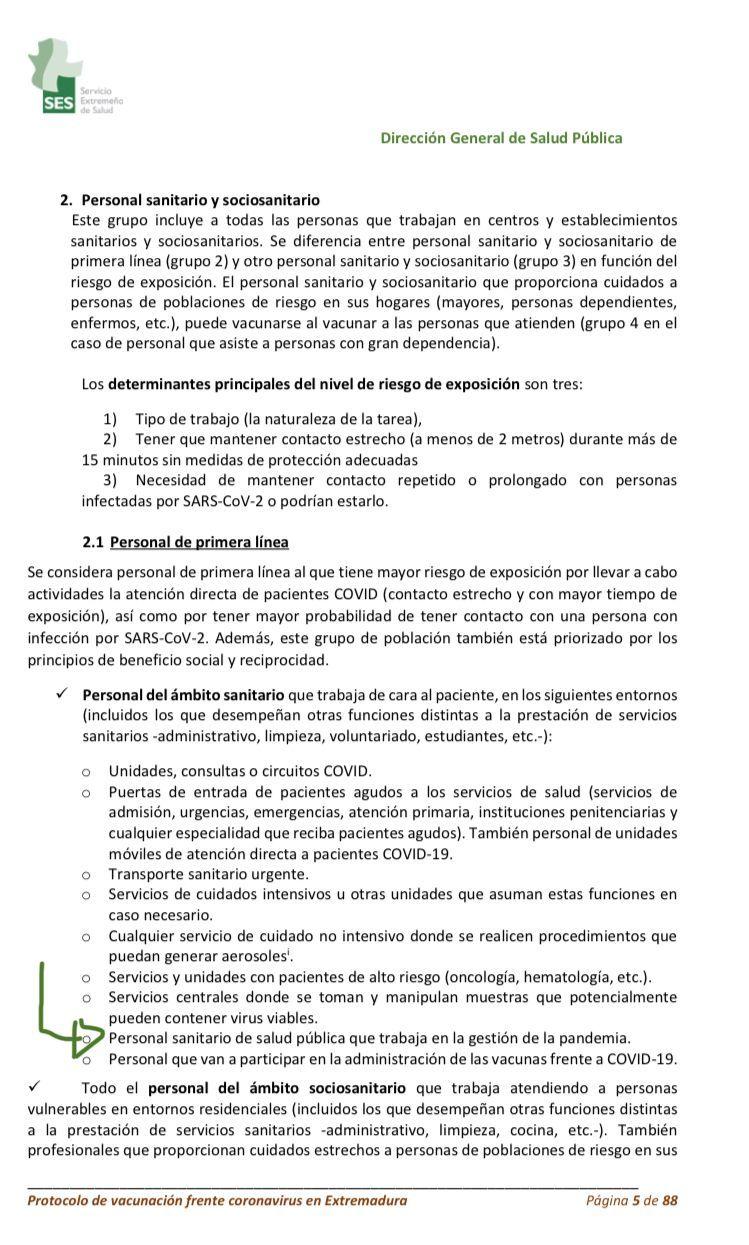 El documento del segundo protocolo de vacunación, de enero de 2021.